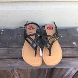 Fergalicious black sandals. NWT. S 10